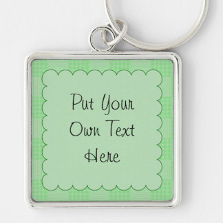 Large Textured Green Patchwork Pattern Key Chains