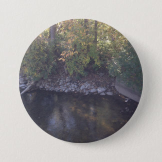 Large three inch  button with creek