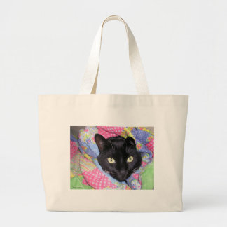 Large Tote Bag: Funny Cat wrapped in Blankets