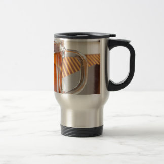 Large transparent glass mug with tea close up