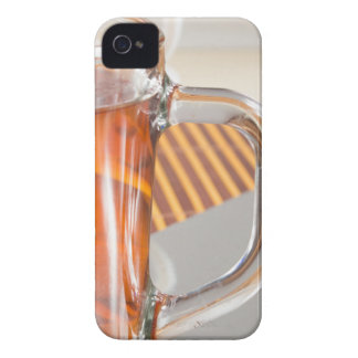 Large transparent glass mug with tea close up iPhone 4 case