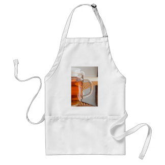 Large transparent glass mug with tea close up standard apron