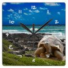 Large turtle at the sea edge square wall clock
