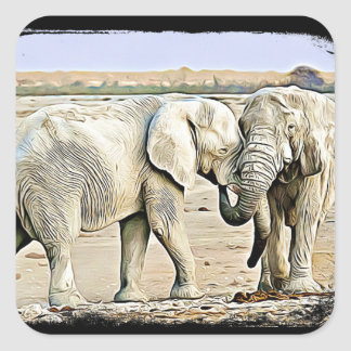 Large Two Hugging Elephants Stickers