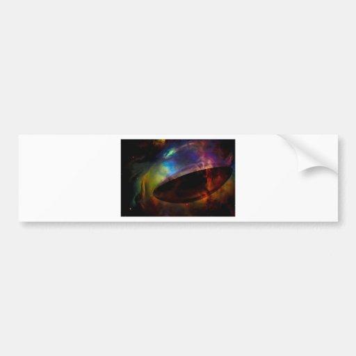 Large UFO with Nebula Bumper Stickers