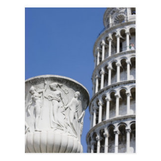 Large urn next to Leaning Tower of Pisa, Italy Postcard