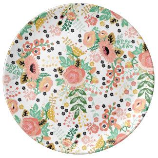 Large Vintage Floral Plate Porcelain Plate
