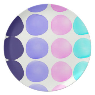 Large watercolor dots party plate