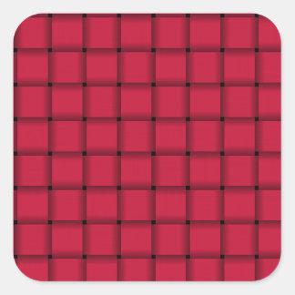 Large Weave - Crimson Square Sticker