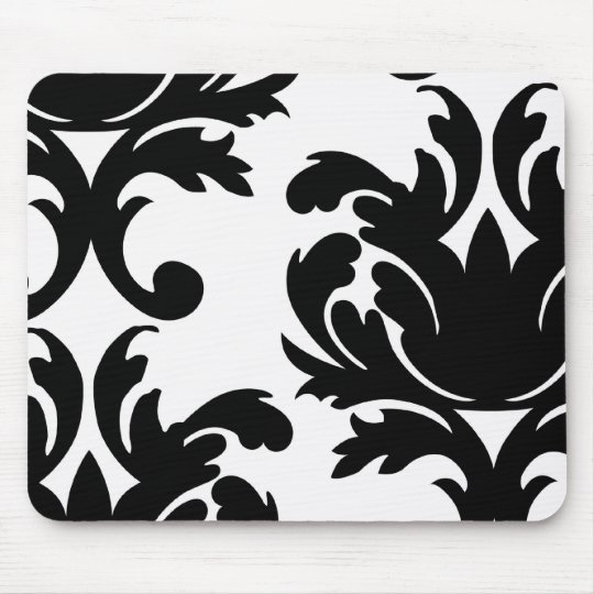 large white and black bold damask mouse pad
