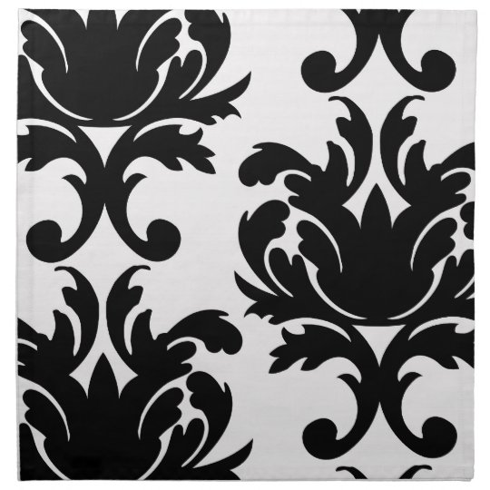 large white and black bold damask napkin