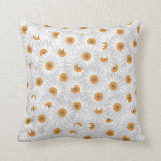 Large White Chamomile Flowers Throw Pillow