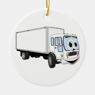 Large White Delivery Truck Cartoon Ceramic Ornament