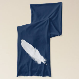 Large White Feather Silhouette Scarf