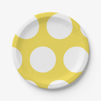 Large White Polka Dot on Yellow Paper Plate