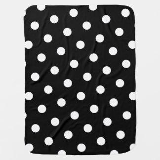 Large White Polka Dot Pattern - Custom Color Black Baby Blanket