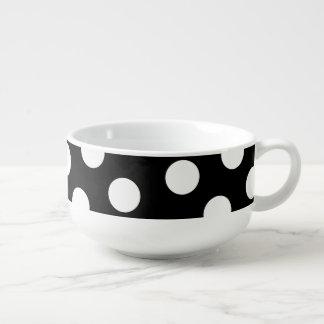 Large White Polka Dot Pattern - Custom Color Black Soup Mug