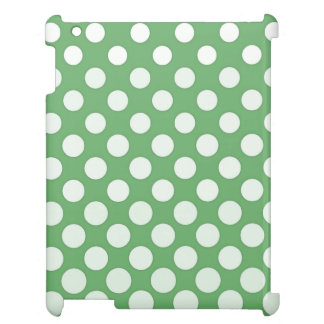 Large white polka dots on lime green case for the iPad