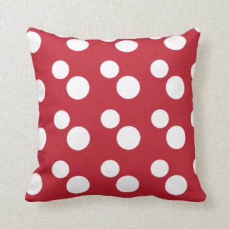 Large White Polka Dots   Red Throw Pillow
