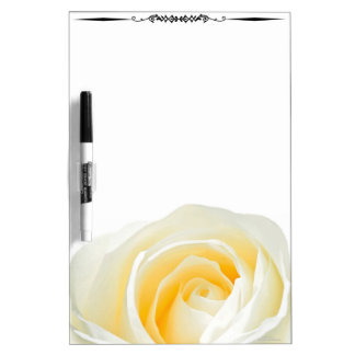 Large White Rose Decorative Whiteboard
