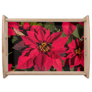Large Wood Finished Poinsettia Serving Tray