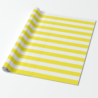 Large Yellow and White Stripes Wrapping Paper