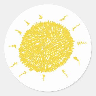 Large Yellow Sunshine Classic Round Sticker