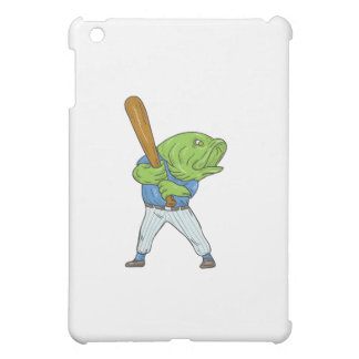 Largemouth Bass Baseball Player Batting Cartoon iPad Mini Cover