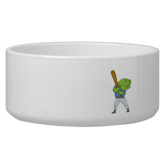 Largemouth Bass Baseball Player Batting Cartoon Pet Bowl