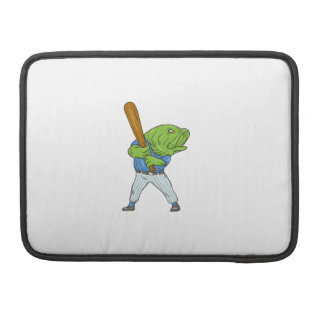 Largemouth Bass Baseball Player Batting Cartoon Sleeve For MacBook Pro