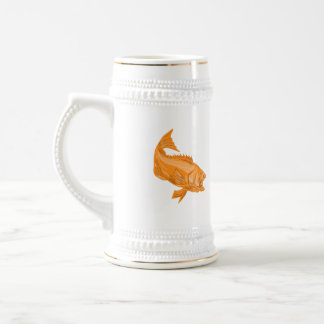 Largemouth Bass Diving Drawing Beer Stein