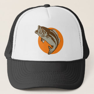 largemouth bass jumping retro trucker hat