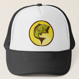 largemouth bass jumping trucker hat