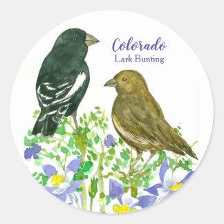 Lark Bunting Birds Colorado Columbine Classic Round Sticker