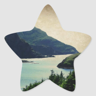 Lark Harbour Mountains Coast Blue Green Star Sticker