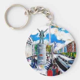 larkin monument oconnell street dublin basic round button keychain