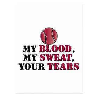Larmes de sueur de sang - base-ball/base-ball carte postale