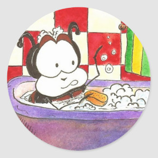 Larry the Ladybug Bug Bath Classic Round Sticker