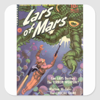 Lars of Mars and the Bug-eyed Tentacle Monster Square Sticker