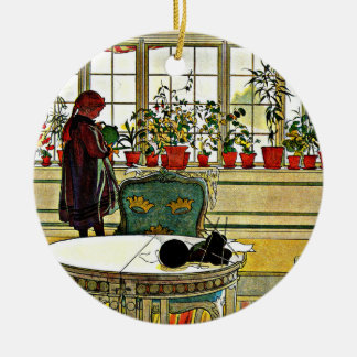 Larsson - Flowers on the Windowsill Round Ceramic Ornament