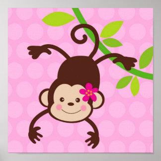 L'art mignon de mur d'enfants de crèche de singe i poster