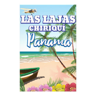 Las Lajas, Chiriquí Panama Beach travel poster Stationery
