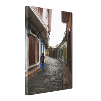 Las Penas-Water Carrier - Cobblestone Road-Ecuador Canvas Print