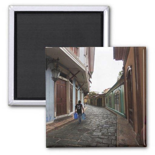 Las Penas-Water Carrier - Cobblestone Road-Ecuador Refrigerator Magnet