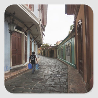 Las Penas-Water Carrier - Cobblestone Road-Ecuador Square Sticker