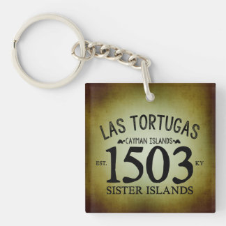 Las Tortugas EST. 1503 Rustic Double-Sided Square Acrylic Keychain