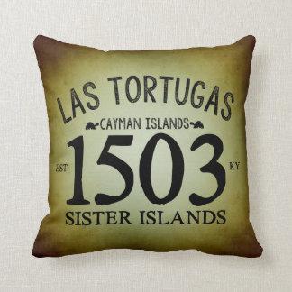 Las Tortugas EST. 1503 Rustic Throw Pillow