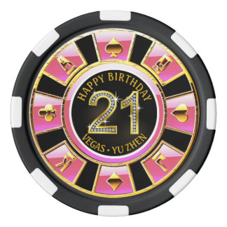 Las Vegas 21st Birthday Casino | pink black gold Poker Chips