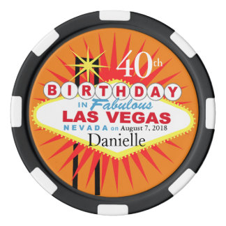 Las Vegas 40th Birthday Casino Chip Poker Chips