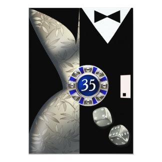 "Las Vegas Art Deco 35th Birthday silver black 5"" X 7"" Invitation Card"